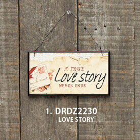 【数量限定】 ミニウッドプレート LOVE STORY DRDZ2230 ◆◆ DR5 SPICE スパイス シャビ— ジャンク ディスプレイ プレゼント ギフト 雑貨 インテリア プレート 看板