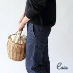 ウィローラウンドバッグW/ファーリーポーチ【106858】□【レディースバッグかごバッグバスケットカゴバッグバッググレーナチュラルおしゃれ天然素材おしゃピク志成】
