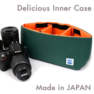DSLR camera bag inner bag soft cushion box made in Japan MOUTH Delicious case MJC12024 GREEN/ORANGE