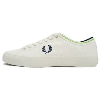 FRED PERRY Fred Perry men's women's sneaker KENDRICK TIPPED CUFF CANVAS Snow White/Carbon Blue Snow White / carbon blue B 5210U-303 [white / canvas / unisex]