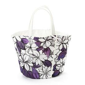 マルシェバッグ・リバーシブル(スモールサイズ) アネモネクレマチス ボタニカル柄 花柄 バッグ 北欧デザイン おしゃれ