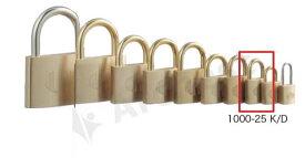 【送料無料】《 セット販売:12個 》真鍮製南京錠 定番の1000シリーズ [1000-25K D(鍵違い)] - アルファ