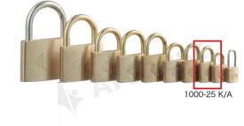 【送料無料】《 セット販売:12個 》真鍮製南京錠 定番の1000シリーズ [1000-25 K A(同一キー)] - アルファ