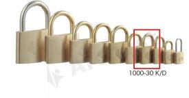 【送料無料】《 セット販売:12個 》真鍮製南京錠 定番の1000シリーズ [1000-30K D(鍵違い)] - アルファ
