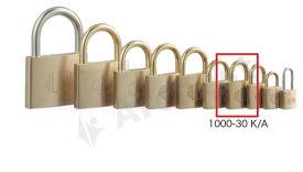 【送料無料】《 セット販売:12個 》真鍮製南京錠 定番の1000シリーズ [1000-35K D(鍵違い)] - アルファ