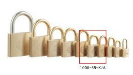 【送料無料】《 セット販売:12個 》の真鍮製南京錠 定番の1000シリーズ [1000-35 K A(同一キー)] - アルファ