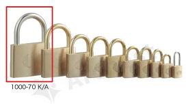 【送料無料】《 セット販売:3個 》真鍮製南京錠 定番の1000シリーズ [1000-70 K A(同一キー)] - アルファ