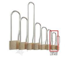 【送料無料】《 セット販売:6個 》真鍮製南京錠 定番の1000シリーズ 吊長タイプ [1000-25 L S K D(鍵違い)] - アルファ