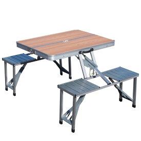 折り畳み式アウトドアテーブル&チェアセット1135 木目- SIS 折りたたみ式 アウトドアテーブル イベント パラソル付き 生活用品 アウトドア 組み立てかんたん PC1135W
