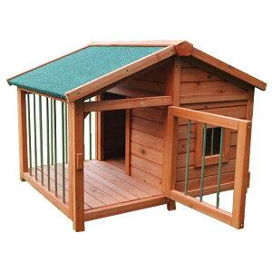 【ポイント2倍】幅98cm高さ72cm 木製犬小屋 扉付き(中型犬 大型犬 屋外用)[DHDX007] SIS ペットハウス ペットグッズ サークル 犬舎 天然木