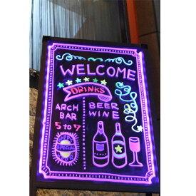 【ポイント2倍】 LED 手書き立て看板 【専用カラー蛍光ペン付】 サイズA型 [SISLG27-57] 光る手書き看板 LED電飾看板 電光掲示板 カフェバー バー 飲食店 おしゃれ