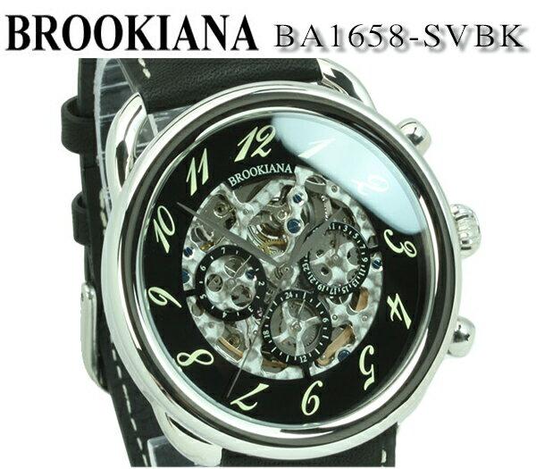 【新品】【送料無料】[ブルッキアーナ]BROOKIANA 多機能カレンダー クロノグラフ デイトカレンダー シルバー×ブラック レザー ba1658-svbk 42mm メンズ 腕時計