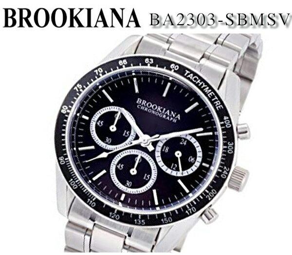 【新品】【送料無料】[ブルッキアーナ]BROOKIANA 日本製クォーツ クロノグラフ ブラック シルバー ステンレス ba2303-sbmsv 40mm メンズ 腕時計 プレゼント ビジネス