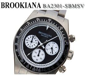 【新品】【送料無料】[ブルッキアーナ]BROOKIANA Middle Class Series ミドルクラスシリーズ クロノグラフ デイトカレンダー シルバー×ブラック ステンレス ba2301-sbmsv 40mm メンズ 腕時計