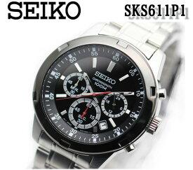 【送料無料】【新品 正規品】セイコー SEIKO 逆輸入 クロノグラフ メンズ 腕時計 sks611p1 メタルベルト ブラック シルバー ステンレス クォーツ 100m防水 おすすめ
