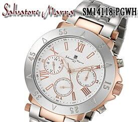 送料無料 サルバトーレマーラ SALVATORE MARRA メンズ 腕時計 SM14118-PGWH メンズ ホワイト ピンク ステンレス クオーツ 10気圧防水 クロノグラフ 日付カレンダー 保証書付