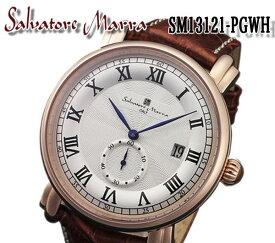 【送料無料】 salvatore marra サルバトーレマーラ メンズ 腕時計 SM13121-pgwh ブラウン レザー ベルト カレンダー おしゃれ プレゼント ビジネス