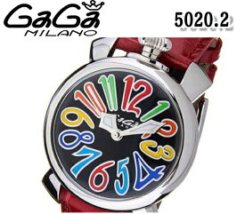 送料無料 新品 ガガミラノ マヌアーレ40MM 腕時計 ユニセックス GaGa MILANO 5020.2 クォーツ マルチカラー×ブラック レッド レザーベルト 人気 ブランド ウォッチ おすすめ
