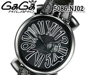 あす楽 送料無料 ガガミラノ 5086.NJ02 スリム 46MM 腕時計 レ ネイマール モデル GaGa MILANO クォーツ ねじ込み式リューズ レザーベルト 人気 ブランド ウォッチ おすすめ ブラック