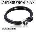 あす楽 新品 EMPORIO ARMANI エンポリオアルマーニ メンズ ブレスレット アクセサリー EGS2212040 レザー プレゼント ギフト 箱付き ブラック