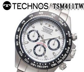 送料無料 新品 テクノス TECHNOS 腕時計 メンズ クロノグラフ 多針アナログ カレンダー クオーツ ホワイト tsm411tw おすすめ 人気 モデル アナログ ブランド ビジネス 回転ベゼル