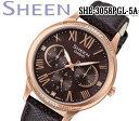 あす楽 送料無料 楽天最安値 カシオ CASIO SHEEN シーン レディース 腕時計 アナログ ブラウン スワロフスキー カレンダー SHE-3058PGL-5A レザーベルト 日本未発売