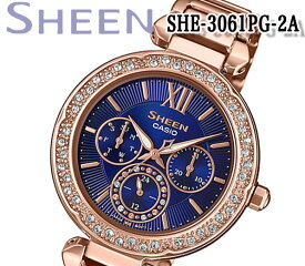 あす楽 送料無料 カシオ CASIO SHEEN シーン 腕時計 レディース アナログ ピンクゴールド シルバー スワロフスキー 海外モデル SHE-3061PG-2A