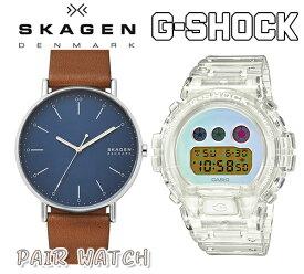 あす楽 送料無料 【カシオ CASIO】Gショック スカーゲン 腕時計 skw6551DW-6900SP-7 メンズ クォーツ 腕時計 レザー ビジネス ファッション プレゼント