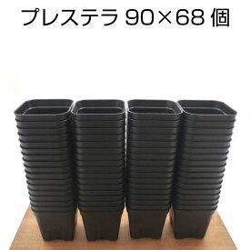 プレステラ90(68個セット)ブラック プラスチック鉢 2.5号鉢 実生 育苗 多肉植物 サボテン