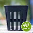 マジカルポット90(40個セット)ブラック プラスチック鉢 2.5号鉢 実生 育苗 多肉植物 サボテン 根腐れ防止 鉢内温度低下 根巻き防止 通気性抜群 タニサボ