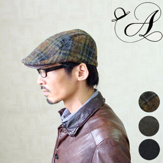 Product made in hunting cap HAMP leather black brown check belt size adjustment possibility Japan
