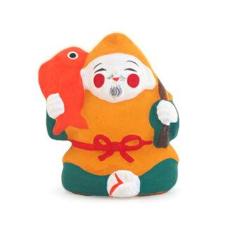 粘土福生 Mame 娃娃惠比寿日本日本日本俑小玩意内政京都传统艺术工匠的房子在安全业务兴旺吉祥粘土手工制作手工礼品