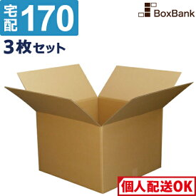 ダンボール 段ボール 170サイズ (60×60×42cm) 3枚 セット 引越し 引っ越し みかん箱 ダンボール箱 段ボール箱 アパレル 梱包 強化 宅配 180 EMS 大型 大きい 2つ折り 毎日出荷
