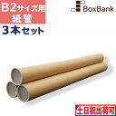 【毎日出荷】紙管 内径50 × 590 (mm) キャップ付 [B2サイズ用] 3本セット
