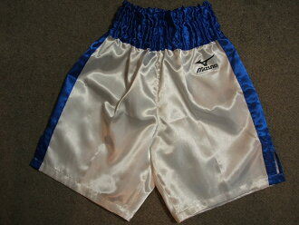 Satin Mizuno boxing underwear (white x blue)