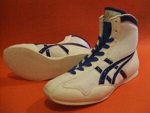 【受注生産約40日でお届け】アシックスショートボクシングシューズアメリカ屋オリジナルカラー 白×青