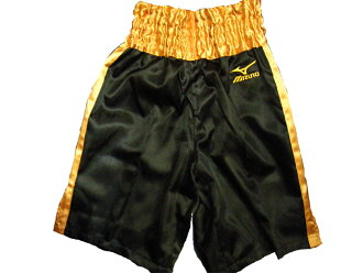 Satin Mizuno boxing underwear (black x gold)