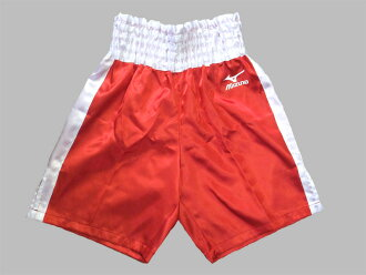 Satin Mizuno boxing pants (red x white)