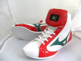 【今なら換えひも付】ミズノショートボクシングシューズ(白xグリーン×赤)オリジナルシューズバッグ付(ボクシング用品・リングシューズ)mizuno made in Japan 21GX151000