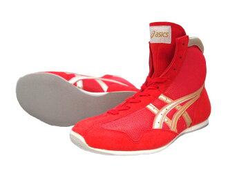 亚瑟士短拳击鞋美国屋原色红×黄金x边缘红