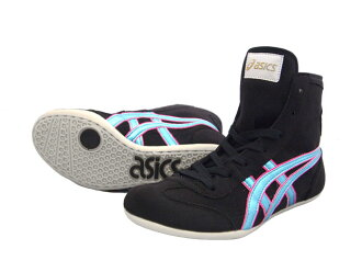 ASICS EX-EO Wrestling Shoes in Black x Ice-Blue x pink  - AMERICA-YA ogirinal color