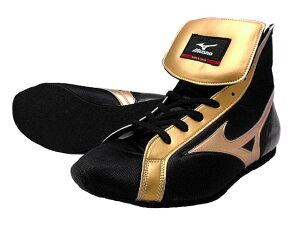 【受注生産】ミズノショートボクシングシューズ(当店オリジナル黒xゴールド)オリジナルシューズバッグ付(ボクシング用品・リングシューズ)