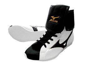 MIZUNO BOXING SHOES オリジナルシューズバッグ付アメリカ屋オリジナルカラー(白x黒x黒ライン)ミズノ折り返しタイプボクシングシューズ