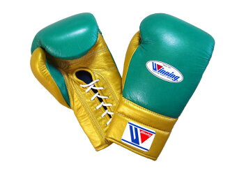 NOW IN STOCK 【limited item/special price】 WINNING boxing gloves 16 oz lace up Green x Gold