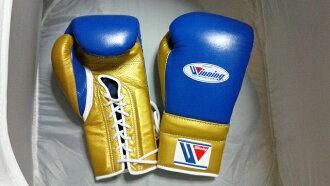 供14盎司蓝色×黄金Winning获胜练习使用的拳击手套(专业型)