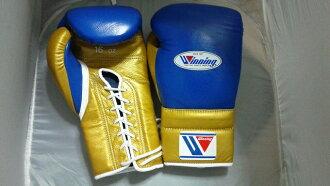 供16盎司蓝色×黄金Winning获胜练习使用的拳击手套(专业型)