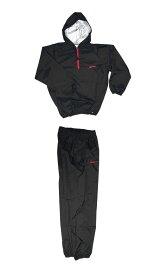 日本製 サウナスーツ・プロボクサーの必需品 アメリカ屋オリジナル減量着上下セットフード付タイプ黒xレッドロゴ ズボンポケット付