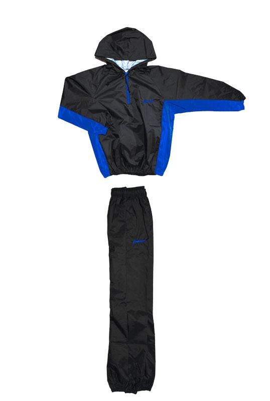 日本製 サウナスーツ・プロボクサーの必需品 フード付アメリカ屋オリジナル減量着上下セット黒×ブルー ブルー刺繍ロゴ