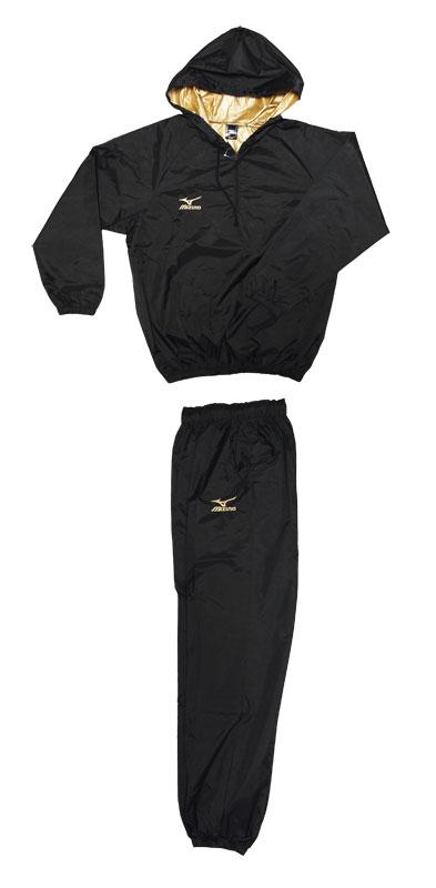 【長年の実績のあるサウナスーツ】プロボクサー仕様ブラック・ミズノロゴゴールド刺繍MIZUNO当店オリジナルフード付減量着上下セット(裏地ゴールド)ミズノ サウナスーツ減量スーツの決定版(ミズノ製)