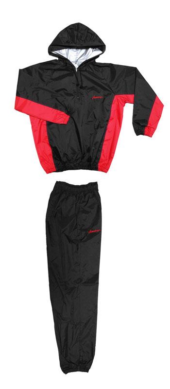 日本製 サウナスーツ・プロボクサーの必需品 アメリカ屋オリジナル減量着上下セットフード付脇切替タイプ黒xレッドロゴ ズボンポケット付